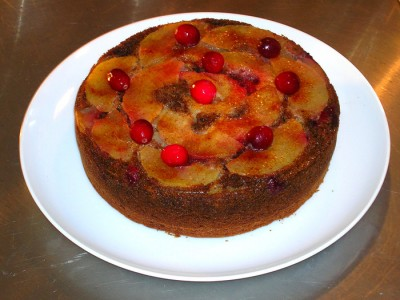 Decadent Diabetic – Apple/Cranberry/ Walnut Upside Down Cake